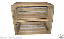 1 WOODEN APPLE CRATE WITH LONG INTERNAL SHELF STORAGE DISPLAY SHOE RACK