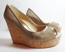 $595 JIMMY CHOO Gold Beige suede Cork Platform Shoes Prova runway wedge 38.5