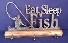 Clothes Hat Rack Eat Sleep Fish Metal and Wood Rustic Decorative Cabin Decor