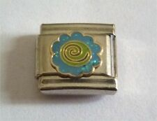 9mm Classic Size Italian Charms Charm E14 Blue Glitter Flower Power