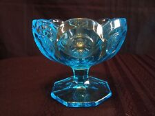 Mint Condition Vintage Fostoria Blue Coin Dot 4-1/2 inch wide Compote