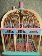 Wooden Decorative Bird Cage Shabby Chic w/ Birds Beautiful 17 x 24 x 12