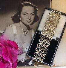 Vintage 1950s 60s Shiny Gold Tone Spiral Statement Bracelet. Party