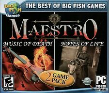 MAESTRO MUSIC OF DEATH + MAESTRO NOTES OF LIFE Hidden Object PC Game DVD-ROM NEW