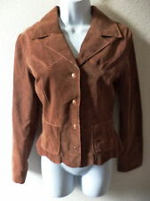 MAXIMA WILSONS LEATHER BROWN NUBUCK LEATHER FULLY LINED SHORT JACKET WOMENS SZ S