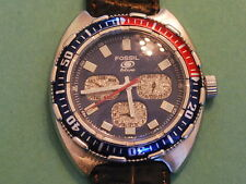 Nice Fossil Blue Men's Diver Watch w/Date /Day/GMT Hand & Pepsi Bezel