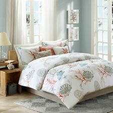 Coral, Seashells, Starfish, Beach Queen Comforter Set KO (7 Piece Bed In A Bag)