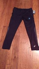 NWT Asics Men's Black Compression Running Pants Reflectivity, 4Way Stretch, L