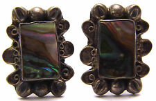 Vintage Screw Back Earrings Rectangle Loops w/ Abalone Shell 925 Sterling Silver