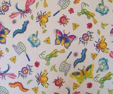 Cartoon Bug Jar Insect Butterfly Net Cotton Sewing Fabric BTQY 22.5 cm off bolt