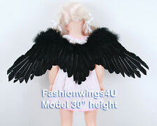 FashionWings Children's Black sidespan spread feather angel wings props