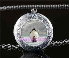 Penguin Mother and Baby Cabochon Glass Tibet Silver Locket Pendant Necklace