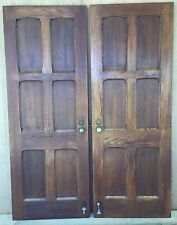Antique Vintage Sold Tiger Oak Interior Privacy French Doors, Pair of Barn Doors