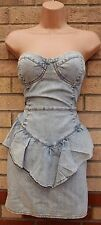 MISS SELFRIDGE BLEACHED DENIM JEANS PEPLUM BANDEAU CORSET TUBE DRESS 12 M
