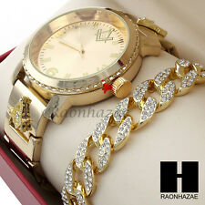 Men Hip Hop Lab Diamond Freemason Watch & Iced Out Cuban Bracelet Gold Set 195G