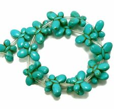 Blue 15x20mm Butterfly Chalk Turquoise Dyed 19 Beads