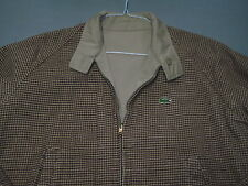 VTG Izod Lacoste Tan Brown Houndstooth Reversible Full Zip Jacket Mens Large