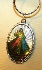 Handsome Silvertone Rippled Inset Colorful Divine Mercy of Jesus Medal Necklace