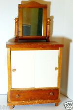 Antique Doll Dresser Wood Toy Wardrobe swivel mirror and drawer furniture  27""