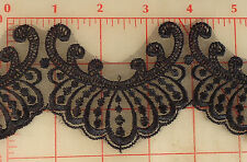 "5 yards pretty scalloped black embroidered lace trim 3"" organza"