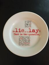 """GrammarWare Tuxton """"To Lie or to Lay"""" plate - NEW"""