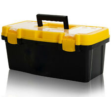 "New 16"" Plastic Tool Box with Handle Tray & Compartment Storage"
