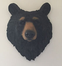 Black Bear Head Bust Wall Hanging Figurine - Lodge, Log Cabin Decor - Hunting