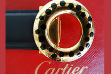 CARTIER Gürtel PANTHERE Strap PANTERA Ceintiure LEDER / GOLD Belt LEATHER NEU w