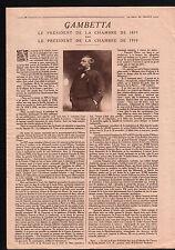 WWI Sénégal Africa/ Léon Gambetta Président de la Chambre 1879 1919 ILLUSTRATION