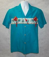 Vintage Paradise Found Hawaiian Shirt Sz M Med Made in USA Parrot Magnum PI