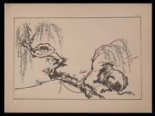 VACHE ET ENFANT, ITTHSHO - ESTAMPE JAPONAISE 1889 -