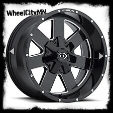 20 inch black milled Vision ARC 411 wheels rims fits Nissan Titan 20x9 6x5.5 +12