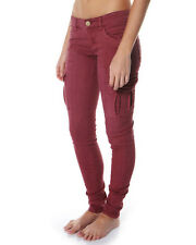 BRAND NEW + TAGS BILLABONG 'PATRIATE' LADIES 10 MERLOT CARGO PANTS STRETCH JEANS