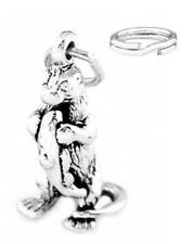 """STERLING SILVER """"OTTER HOLDING - EATING FISH"""" CHARM WITH ONE SPLIT RING"""