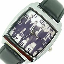 THE BEATLES BAND WALK WATCH Steel LEATHER ROCK MUSIC LEGENDS SQUARE CD WATCH E3