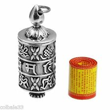 Tibetan vajrayana buddhism Prayer wheels 925 Silver Pendant unisex lucky gifts