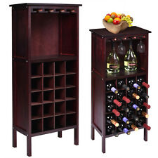 New Wood Wine Cabinet Bottle Holder Storage w/ Glass Rack Kitchen Home Bar