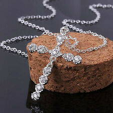 Women's Fashion Jewelry Silver Plated Chain Crystal Cross Pendant Necklace