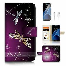 Samsung Galaxy S7 Flip Wallet Case Cover P1844 Dragonfly