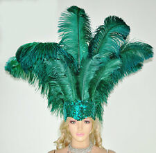 Forest Green Face Ostrich feather Headdress With Sequins Burlesque dancing