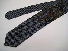 Santostefano Italy 100% Silk Neck Tie from Syd Jerome - Navy Blue/Charcoal/Gold