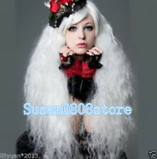 New Fashion Lolita White Long Curly Cosplay Anime Hair Full Wigs+ wig cap