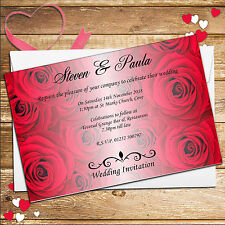 10 Personalised Red Roses Wedding Day / Wedding Evening Invitations Invites N51