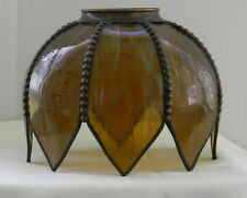 Antique SLAG GLASS 8 Panel Brown Lamp Shade