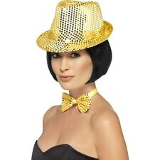 Women's Gold  Sequin Trilby Hat Fancy Dress Dance Show Gangster Hen Party Fun