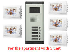 Apartment 5 Unit Intercom Wired Video Door Phone Audio Visual Entry System 1V5