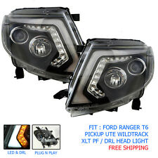 Fit Ford Ranger T6 Head Lamp Head Light Lamp Led Ccfl Black Pickup Xlt Wild Trak