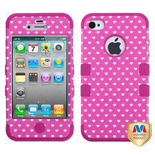 iPhone 4 4S Rubber IMPACT TUFF HYBRID Skin Case Phone Cover Pink Heart Dots