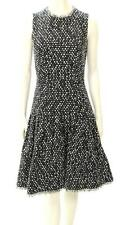 Oscar de la Renta Black & White Woven Flare Hem Dress F09 Size 6