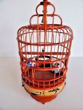"""Wood CHINESE JAPANESE  Bird Cage -3  Blue & white PORCELAIN Stations 9"""" Tall"""